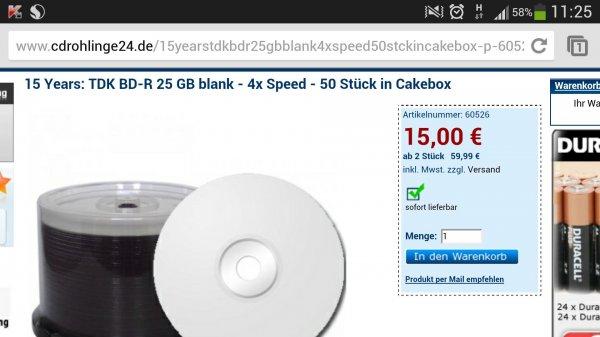 (CDRohlinge24.de) TDK BD25 25GB 4x Rohlinge 50 Stk