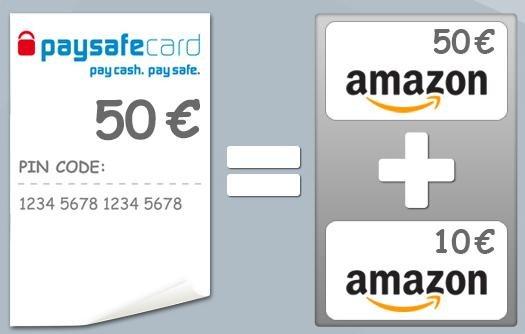 Paysafecard: Amazongutschein im Wert von €50 im paysafe Gutscheinshop kaufen, +10 Euro Amazongutschein Bonus von paysafe kriegen