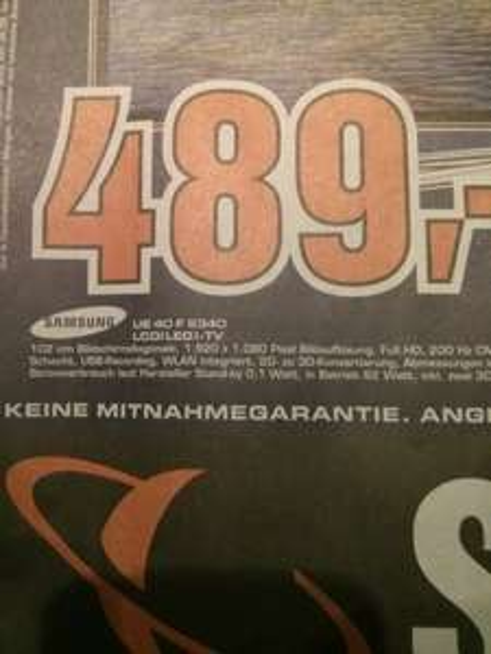 [Saturn Bundesweit?] Samsung: LED TV UE40F6340 489€ // LED TV UE55F6100 inkl. BD-F6500 899€ // Pana. TX-L50B6 499€