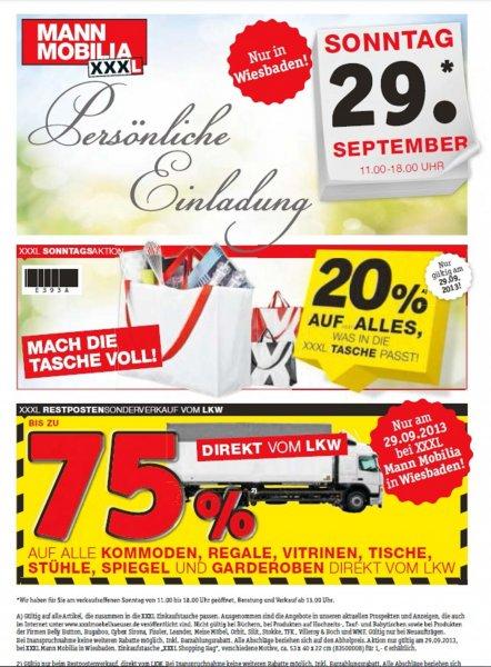 [Lokal Mann Mobilia Wiesbaden] 29.09. Verkaufsoffener Sonntag mit bis zu 75%
