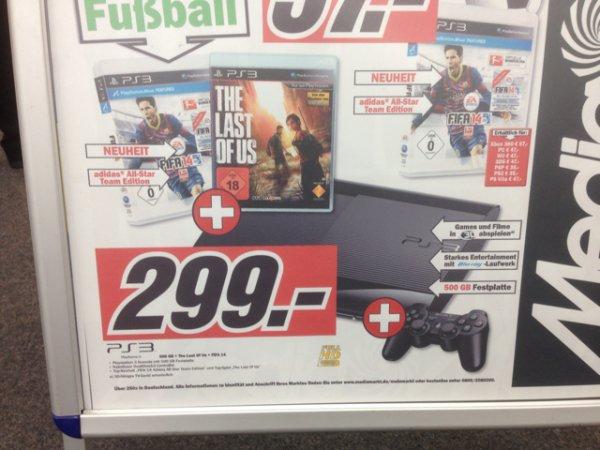 [Media Markt Karlsruhe] PS3 500 GB + FIFA 14 + Last of Us für 299 Euro