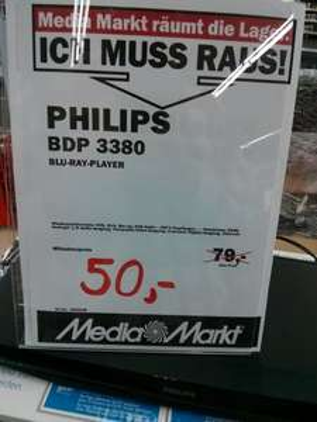[Lokal] - Media Markt Leipzig Höfe am Brühl - Philips BDP 3380 3D Blu-Ray-Player - 50 €