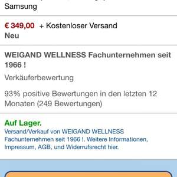 Samsung Galaxy S4, NEU [Amazon Marketplace], 349€