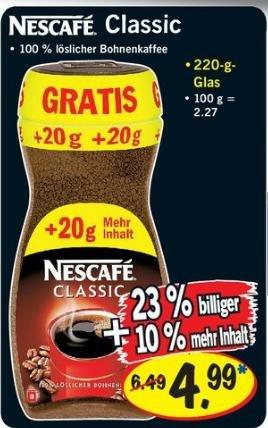 Nescafe Classic 220g Glas bei Netto und Lidl