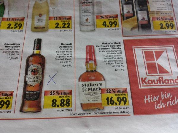 Bacardi Oakheart Kaufland 8,88€ lokal? Ab 30.09.