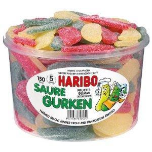 Haribo Saure Gurken, 1er Pack (1 x 1.35 kg Dose) / Haribo Schlümpfe, 1er Pack (1 x 1.35kg Dose)