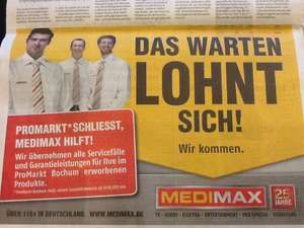 Lokal Bochum / ProMarkt wird zu MediMax / Garantie- & Serviceleistungen übernimmt MediMax !!!