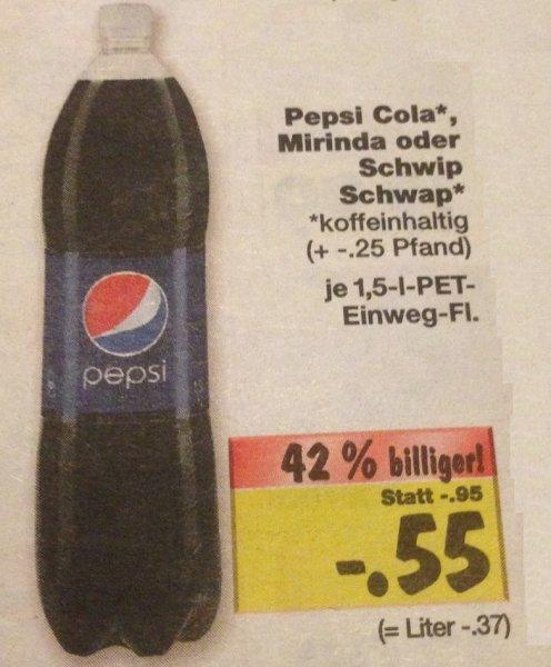 Pepsi Cola / Mirinda / Schwip Schwap - 1,5l-Flasche @ Kaufland (teilweise sogar 49Cent)