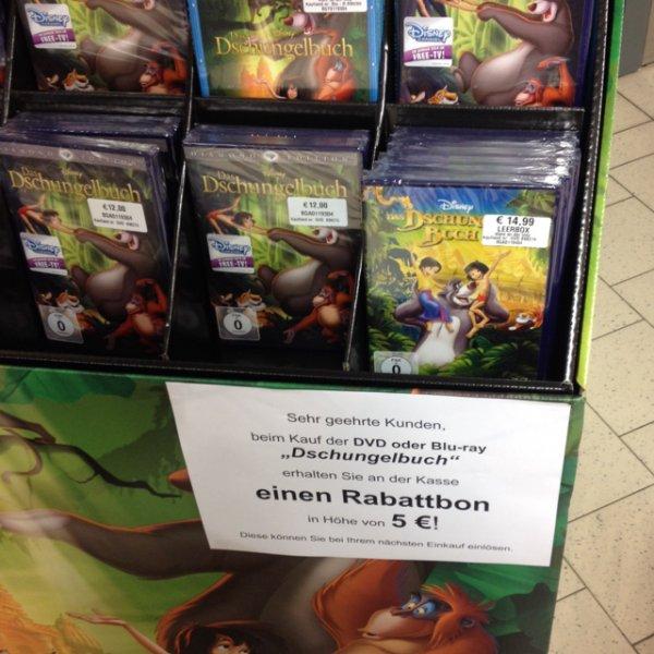 Kaufland Dschungelbuch DVD oder blueray kaufen und 5 € Gutschein erhalten (lokal essen ?)