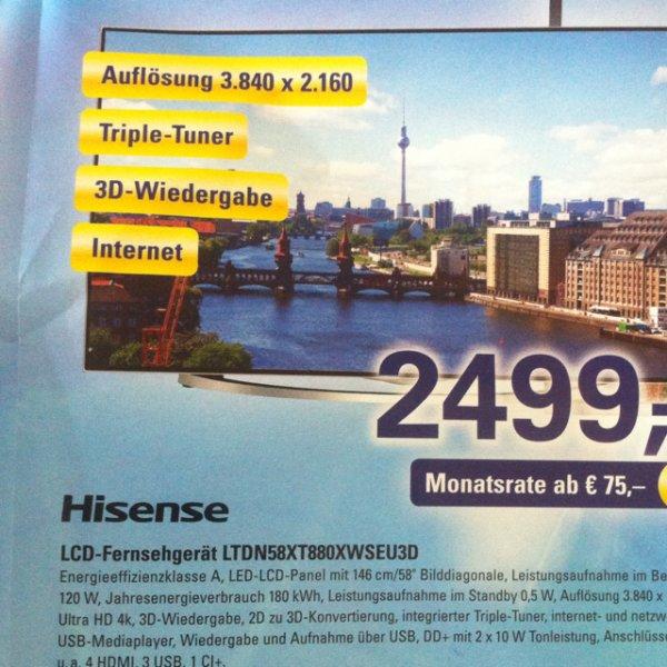 """[Lokal] Hisense 58"""" 4k TV LTDN58XT880XWSEU3D"""