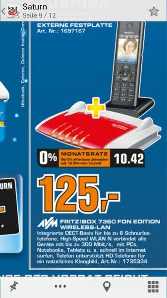 [Lokal] AVM FRITZ!Box 7360 + Fritz!Fon MT-F für 125€ bei Saturn in Bochum, Witten & Hattingen