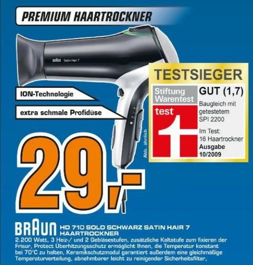 Haartrockner HD 710 Satin Hair 7 von Braun auf 29€ reduziert!