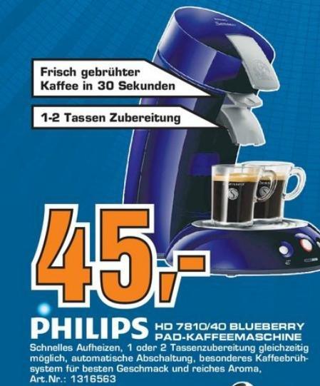 Lokals Angebot: Philips Senseo HD 7810/40 Pad-Kaffeemaschine auf 45€ reduziert