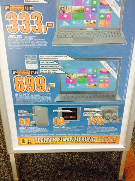 Sony Ultrabook P1321 mit i5/128GB SSD Bei Saturn Bremen City für 699,-€ HAMMER !