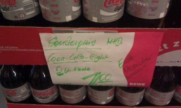 [lokal REWE Getränkemarkt Wiesloch] 2Liter Cola Light für 1,00€