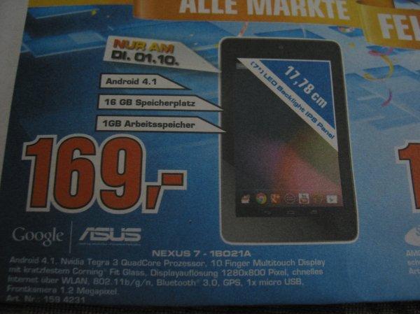 ASUS Nexus 7 1B021A 169,00 € - lokal offline -