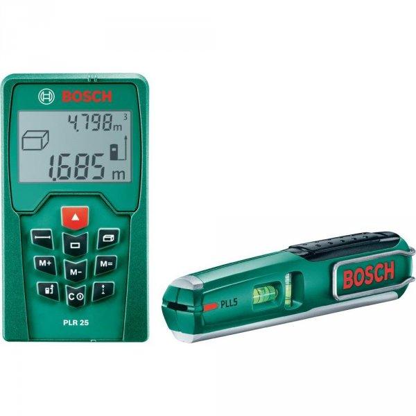 Bosch Entfernungsmesser PLR 25 + Laserwasserwaage PLL 5 + Schlagbohrmaschine PSB 50