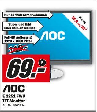 MediaMarkt Bruchsal: AOC e2251Fwu (22Zoll Monitor, LED-Backlight, FullHD) nur bis heute Dienstag 01.10.2013 für 69€