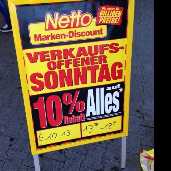 [Lokal Aachen] 06.10.13 10% auf alles Netto Verkaufsoffene Sonntag
