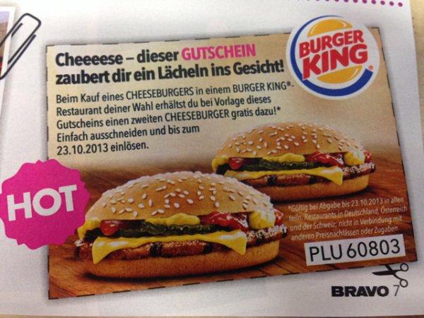 [Burger King] 2 Cheeseburger zum Preis von einem