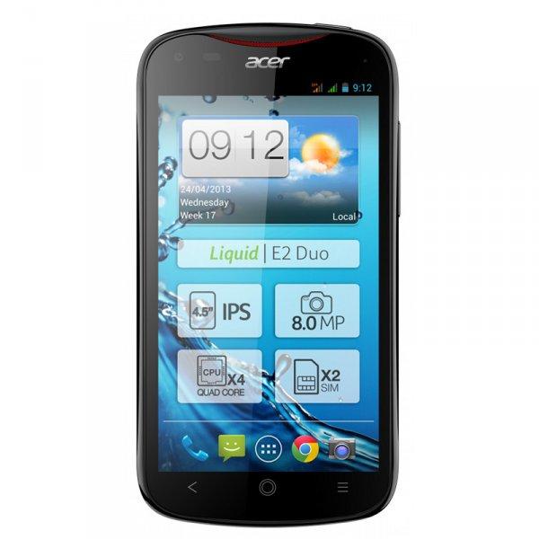 Acer Liquid E2 Duo  Jelly Bean 4.2  Quad-Core 4x 1.2GHz Cortex-A7  1GB RAM  DUAL-SIM  schwarz für 189€ bei notebooksbilliger.de versandkostenfrei