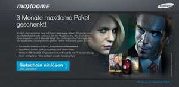 3 Monate maxdome Paket geschenkt auf jedem Samsung SmartTV