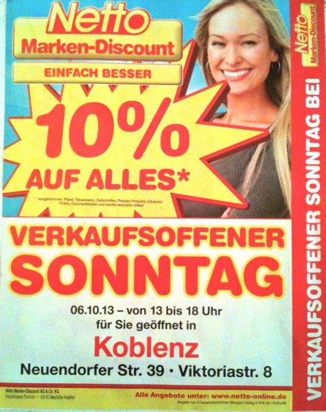 [LOKAL Koblenz] 06.10. Netto 10% auf Alles*