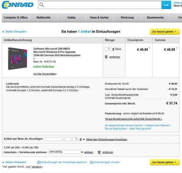 Microsoft Windows 8 Pro Upgrade für 37,74€