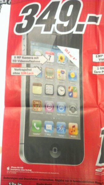 iPhone 4s ohne Vertrag 349 Euro bei Mediamarkt in Hamburg