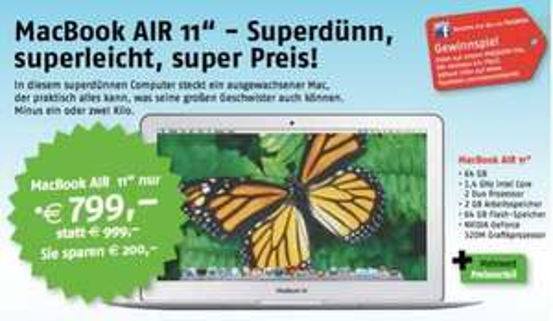 """Offline: Macbook Air 11"""" Basisversion 799,- statt 999,- LOKAL Österreich (Region Bodensee)"""