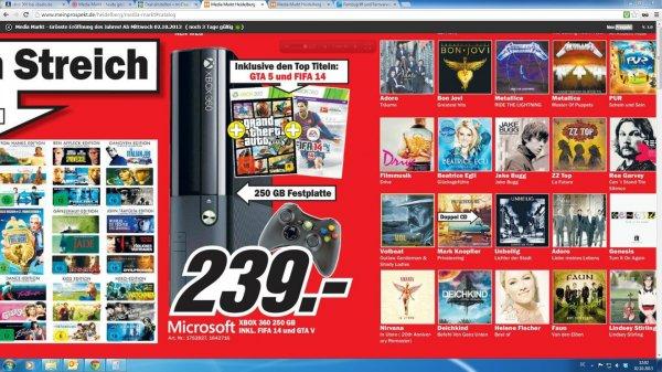[MM Heidelberg] ab 04.10.2013 XBOX 360 250GB  inkl. GTA V & FIFA 14 für 239€