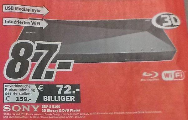 [Media Markt Aachen und Umgebung] Sony BDP-S5100 Blu-ray-Player (3D, W-LAN, HDMI, HD Upscaler, Internetradio, USB) schwarz