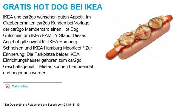 Gratis Hot Dog bei IKEA für Car2Go Mitglieder [Hamburg]