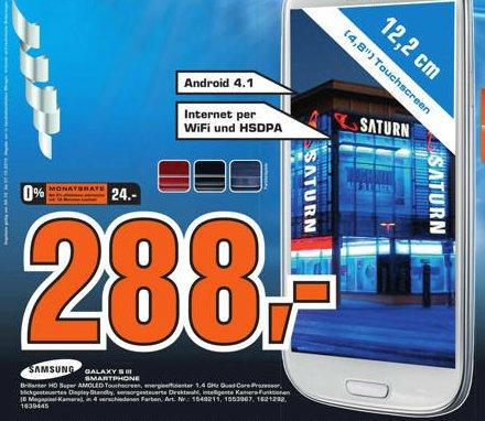 Offline: Galaxy S3 in weiß / blau / rot / schwarz für 288 Euro bei Saturn Celle oder als 0% Finanzierung
