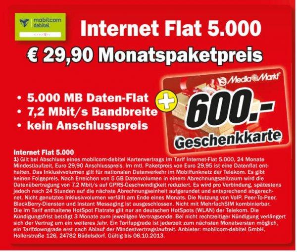 [Lokal] Berlin/Brandenburg in 18 Media Märkten Internet Flat 5000 (5GB) im D1 Netz (Mobilcom Debitel) rechnerisch 6,20€/Monat durch 600 Euro Gutschein
