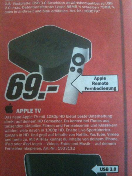 *Lokal* Apple TV 3. Generation Mediamarkt Dessau > Preis noch niedriger< 69,00 €