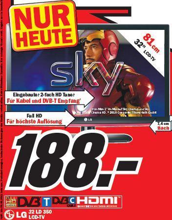 LG 32LD350, LG 32LE4500 und weitere Knaller nur heute bei MediaMarkt Weiterstadt
