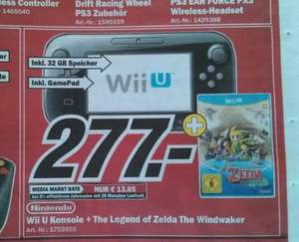 [Lokal MediaMarkt WÜ, SW, NES] Nintendo Wii U - Premium Pack 32gb + The Legend of Zelda - Wind Waker HD - 277€