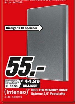 """[Global Deutschland]  HDD Intenso 1TB Memory Home - externe 2,5"""" Festplatte mit USB 3.0 für 55€ im Media Markt"""