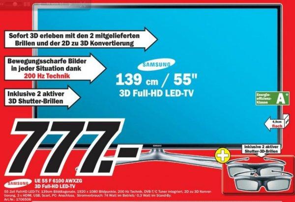 "[Lokal MM Heidelberg] Samsung UE55F6100 3D LCD Fernseher 55"" inkl. 2 Brillen 777€"