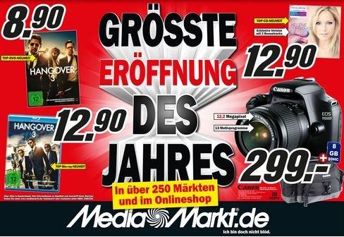 [Media Markt bundesweit] - CANON 1100D + 18-55 DC Kit + Tasche + SD-Karte für 299€ - Hangover 3 DVD 8,90€/Blu-Ray 12,90€