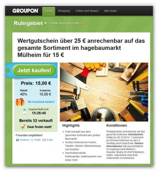 25 Euro Gutschein für Hagebaumarkt in Mülheim für 15 Euro.