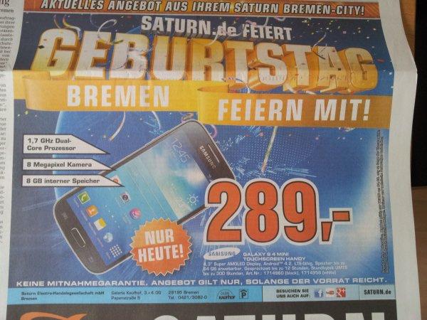 [Lokal Saturn Bremen-City] Samsung Galaxy S4 Mini - Nur heute