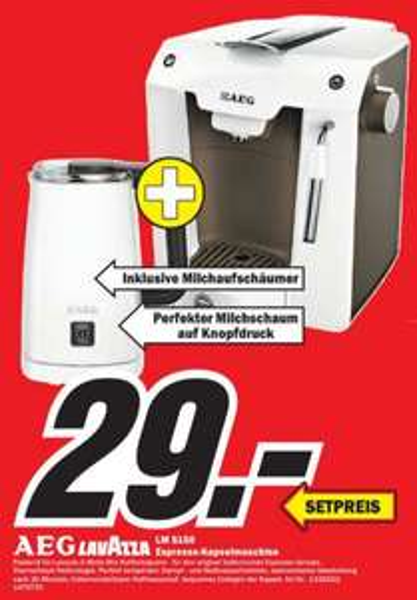 [MediaMarkt München und Erding] AEG Favola LM 5150 Lavazza A Modo Mio Kapselmaschine & Milchaufschäumer AEG MS 5000