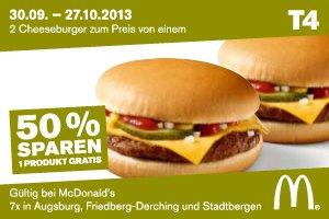 [Augsburg] Mc Donalds Cheeseburger 50% Rabatt (2 für 1)
