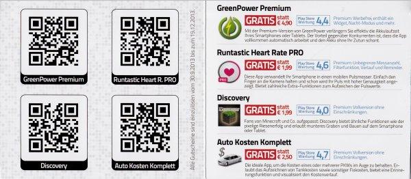 (android) 4 Kostenlose APPs Discovery, Runtastic Heart Rate Pro, Green Power Premium, Autokosten komplett