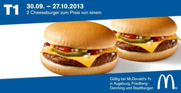 (Lokal Lkrs. Augsburg) McDonald`s 2 Cheeseburger zum Preis von einem