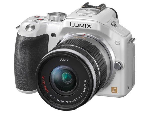 PANASONIC Lumix DMC-G5K weiß + 14-42 mm-Objektiv - Digitalkamera   inkl. Ladegerät, Lithiumakku