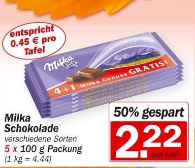 HIT Supermarkt - Preiskracher - Milka Schokolade 50% günstiger (im 5er Pack)
