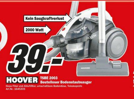MediaMarkt Heidelberg: Hoover TSBE 2003 Staubsauger (Beutellos, 2000W, Hepa Filter) für 39€ (Vergleichspreis: 56€)